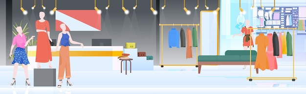 現代のファッションショップインテリア空の人なし女性の衣料品店水平ベクトルイラスト