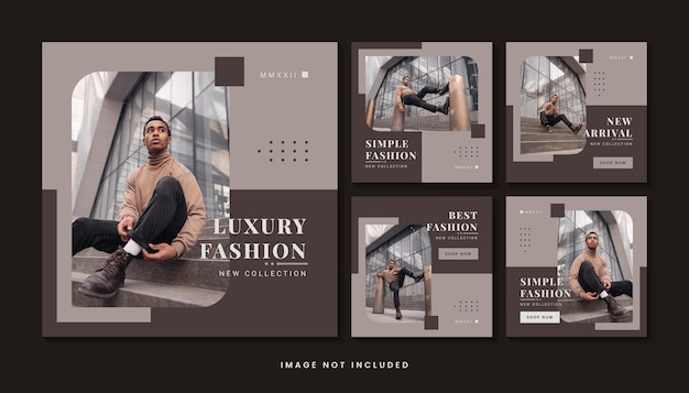 Modern fashion social media post template collection