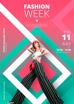 Modern fashion week poster template