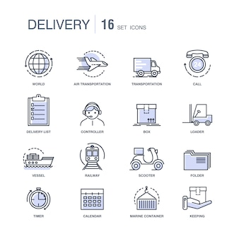 Modern fast delivery services monochrome icons set