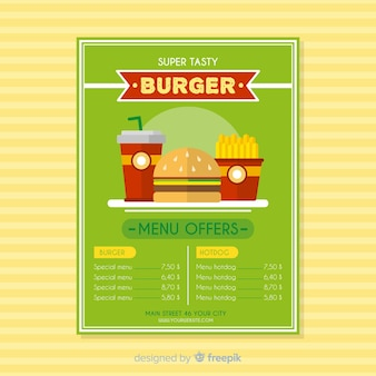 Современный шаблон флаера ресторана быстрого питания