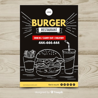 Modern fast food restaurant flyer template