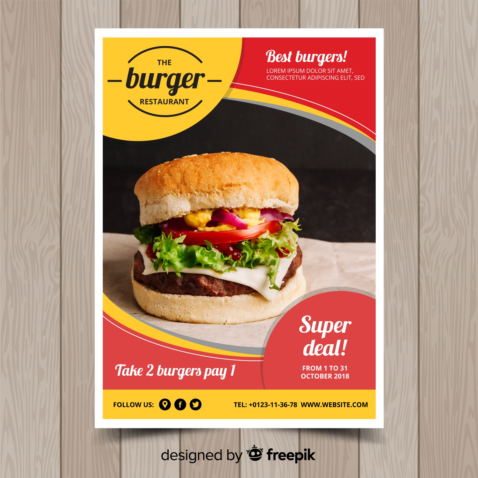 Modern fast food restaurant flyer template