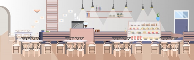 カウンターテーブルと椅子のあるモダンなファーストフードのレストランは空の人々はカフェインテリアフラット水平を表現しません。