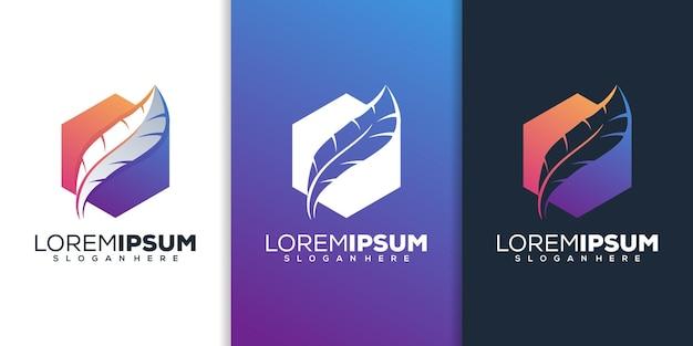 Современный дизайн логотипа перья Premium векторы