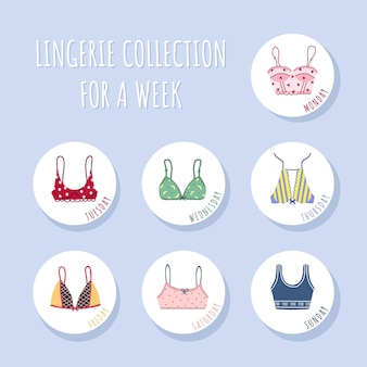 일주일 동안 현대 여성 브래지어 컬렉션.