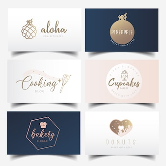 Modern feminine bakery business card design with editable logo