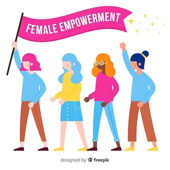 Modern feminism concept with flat design