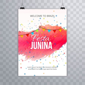 Modern festa junina template with paint brushes