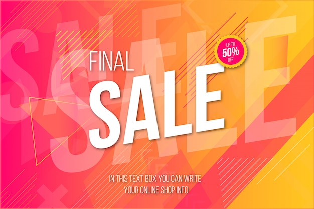 Modern final sale banner with memphis background