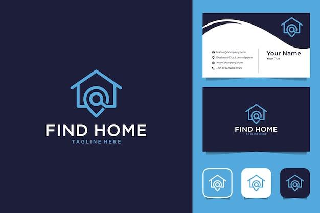 モダンなホームロケーションラインアートのロゴデザインと名刺を見つける