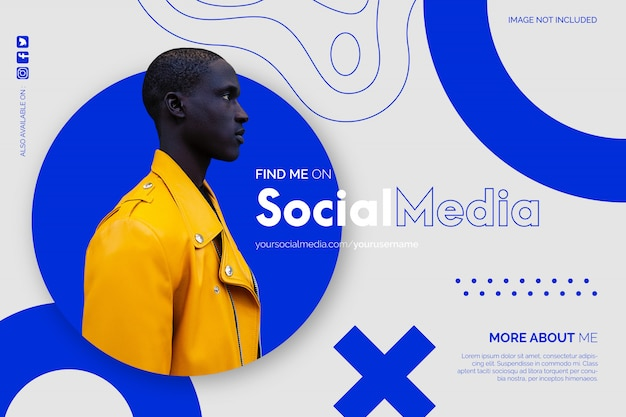 Modern find me on social media background