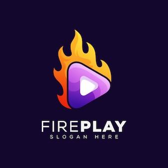 Modern fire play or hot media logo design
