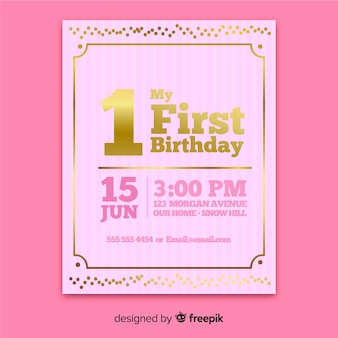 Modern first birthday invitation