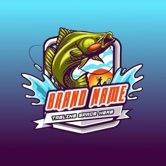 Modern fishing mascot logo team