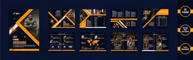 Modern fitness 16 page brochure design with yellow and blue color geometric shapes and data.