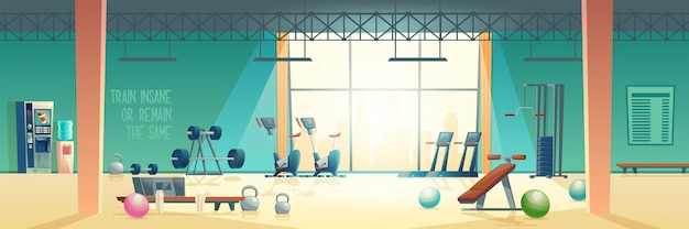 Modern fitness club gym cartoon vector interior