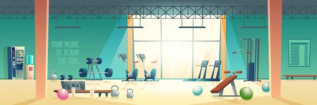 Современный фитнес клуб тренажерный зал мультяшный вектор интерьер