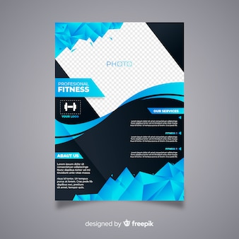 Modern fitness flyer with abstract design