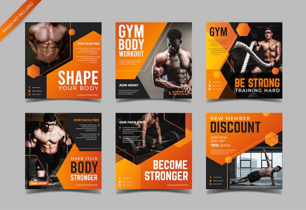 Modern fitness and gym social media post template