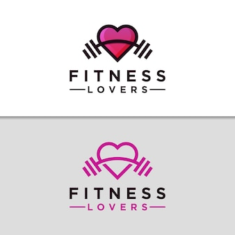 Modern fitness love gym logo design  template