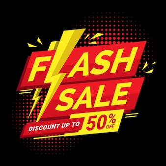 Modern flash sale banner discount with lightning icon perfect for boost your product promotion sales