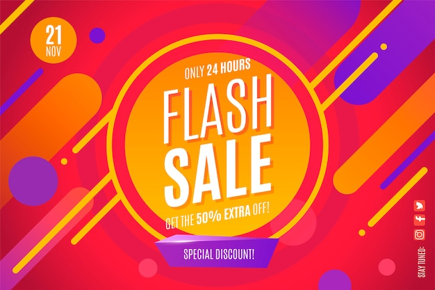 Modern flash sale banner template with abstract shapes