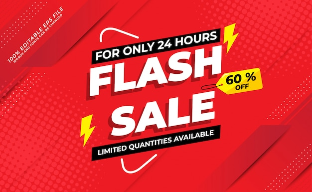 Modern flash sale banner with 60 off