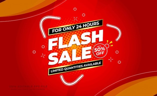 Modern flash sale banner with red colour