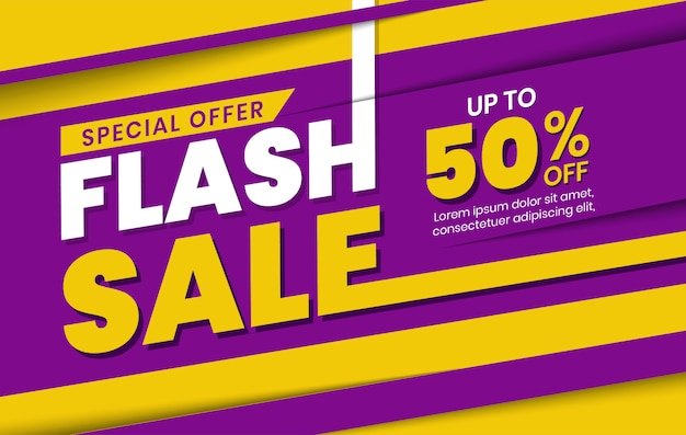 Modern flash sale discount banner template on purple yellow background