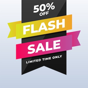 Modern flash sale discount banner on white