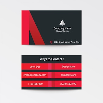 Modern flat black collection business card - black grey red