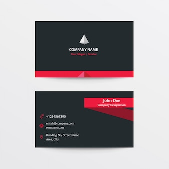 Modern flat black collection business card - black and red
