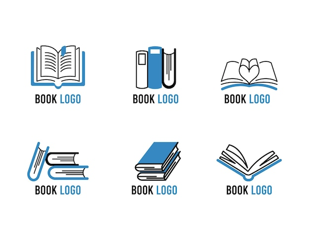 Modern flat book logo set