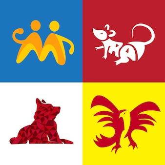 독수리, 마우스 및 개 로고 동물의 현대 평면 번들 세트