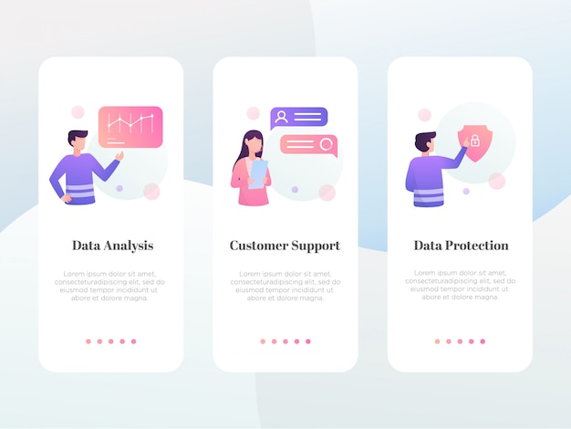 Modern flat business onboarding screen collection