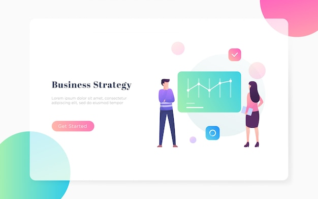 Modern flat business srrategy landing page illustration