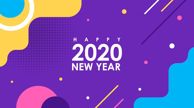 Modern flat card of happy new year 2020 in memphis design