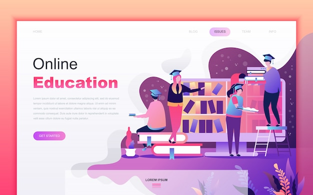 Modern flat cartoon of online education