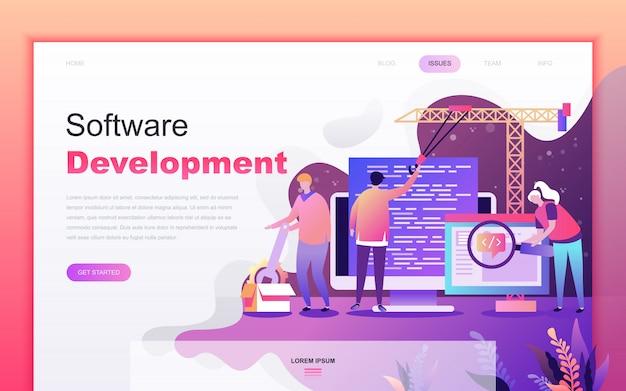 Modern flat cartoon of software development