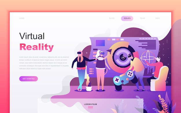 Modern flat cartoon of virtual augmented reality