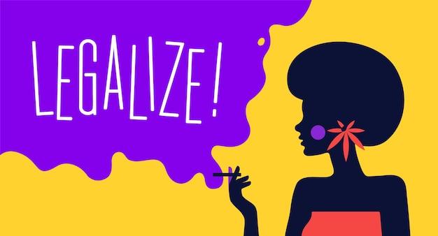 현대 평면 캐릭터. 담배와 여자 여자의 캐릭터입니다. 대마초 개념을 합법화하십시오.