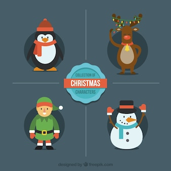 Modern flat christmas characters