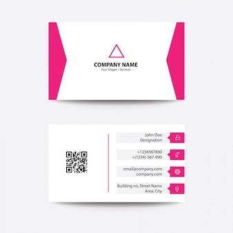 Modern flat clean concept business card - pink color
