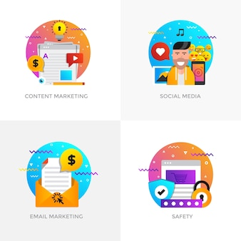 Modern flat color designed concepts icons for content marketing