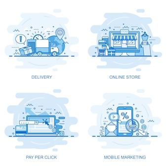 Modern flat color line concept web banner