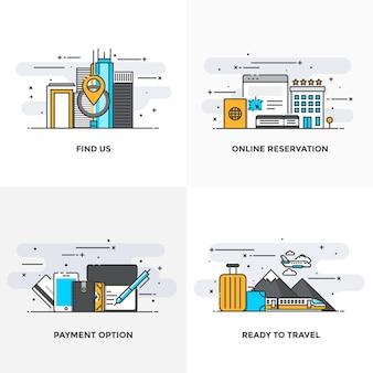 私たちを見つける、オンライン予約、支払いオプション、旅行の準備のための概念のアイコンを設計したモダンなフラットカラーライン。