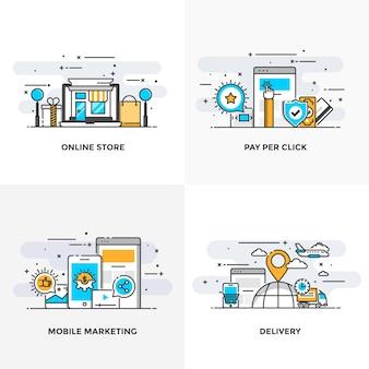 モダンなフラットカラーラインは、オンラインストア、クリックごとの支払い、モバイルマーケティングおよび配信の概念アイコンを設計しました。
