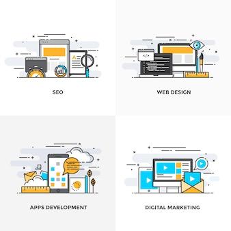 Современная плоская цветная линия разработала концептуальные значки для seo, веб-дизайна, разработки приложений и цифрового маркетинга.