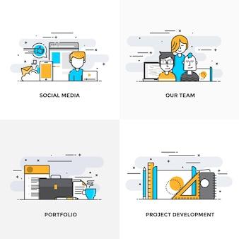 モダンなフラットカラーラインは、ソーシャルメディア、私たちのチーム、ポートフォリオ、プロジェクト開発のコンセプトアイコンをデザインしました。